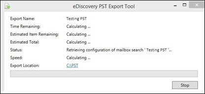 eDiscovery PST Export Tool Stuck Calculating Error