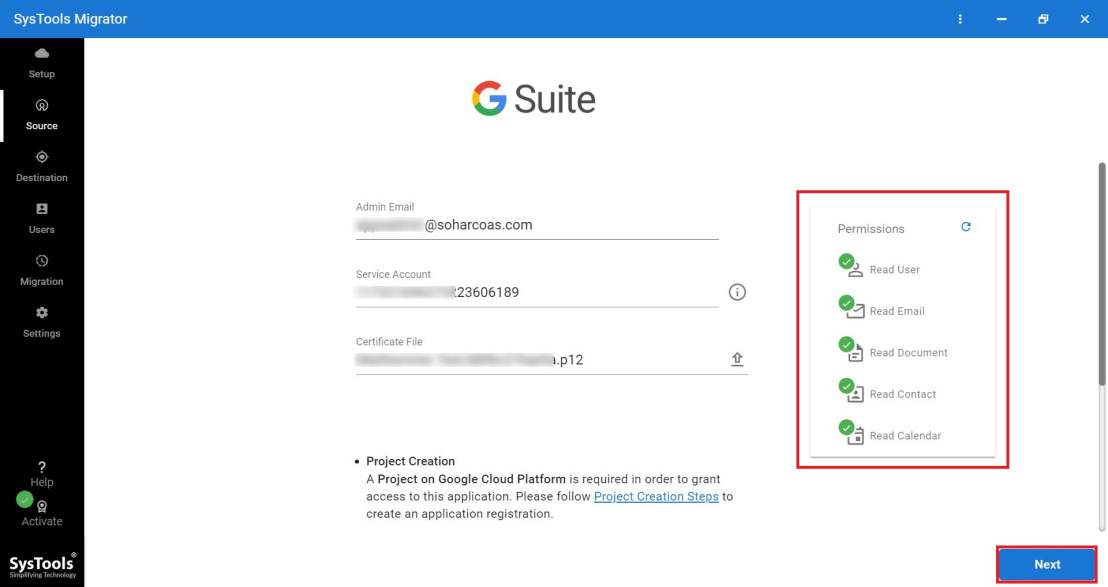 enter g suite credentials